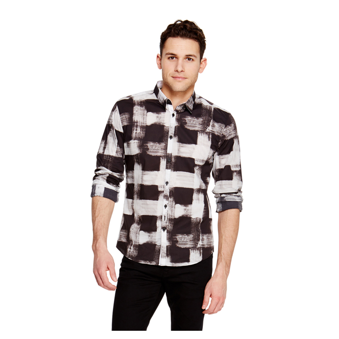 BLACK DKNY SMUDGE CHECK PRINT SHIRT Outlet Online