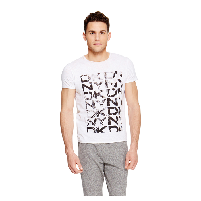 WHITE DKNY LOGO PRINT TEE Outlet Online