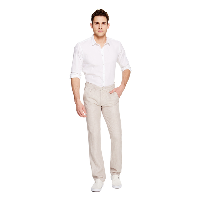 SAND DKNY FLAT FRONT LINEN PANT Outlet Online