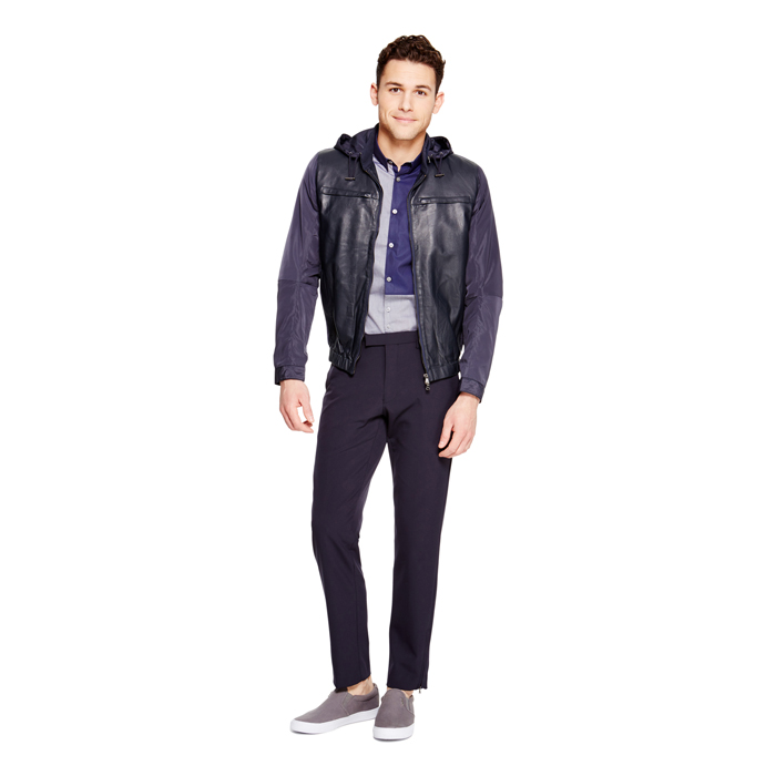 DARK NAVY DKNY LEATHER FRONT BOMBER JACKET Outlet Online