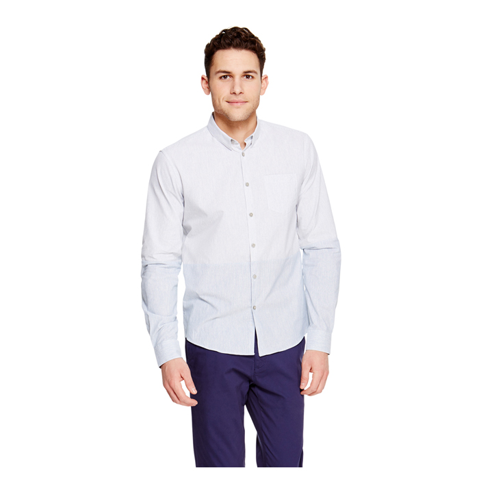 BABY BLUE DKNY COLORBLOCK BUTTON DOWN SHIRT Outlet Online