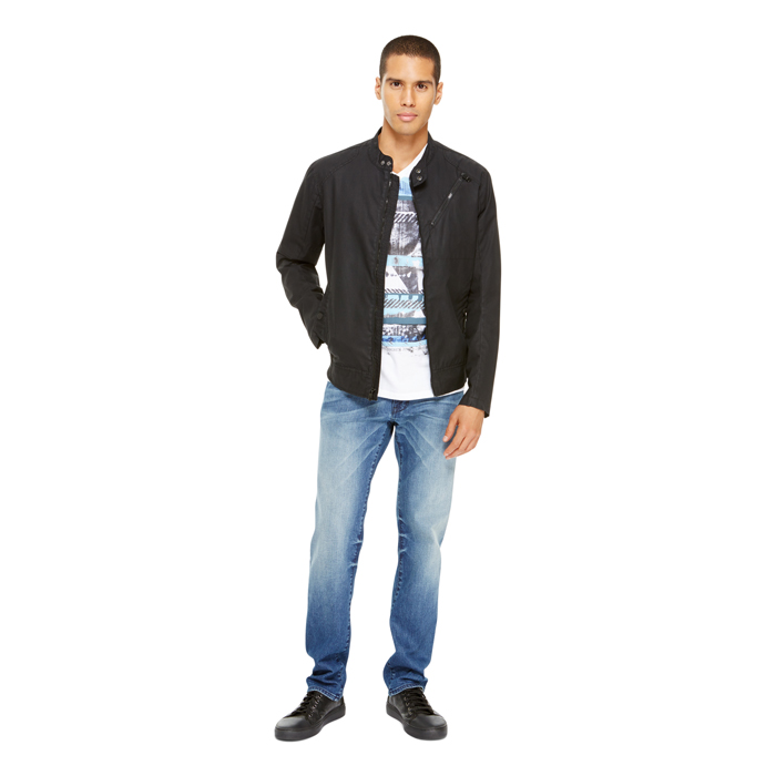 BLACK DKNY JEANS COATED BIKER JACKET Outlet Online
