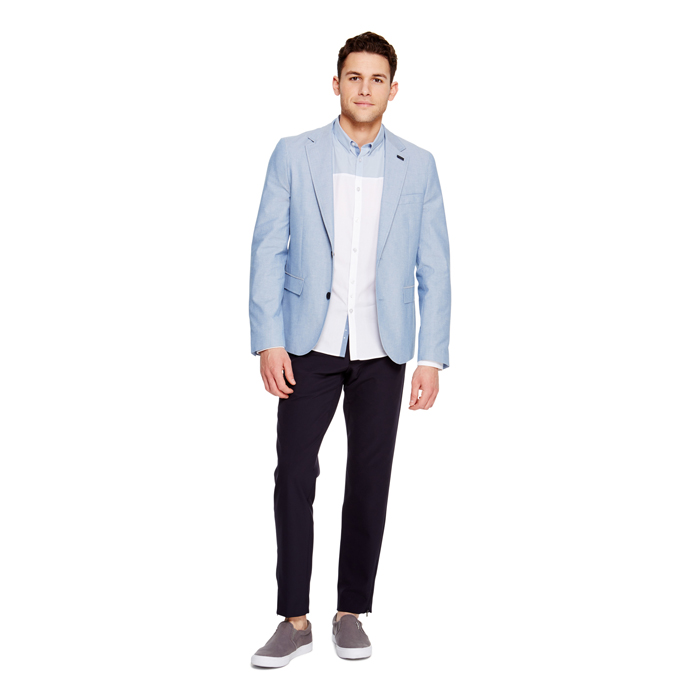 STEEL BLUE DKNY CLASSIC COTTON BLAZER Outlet Online