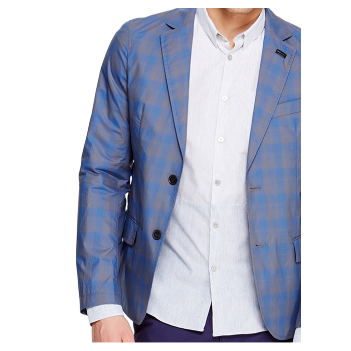 PARISIAN BLUE DKNY TWO TONE CHECK BLAZER Outlet Online