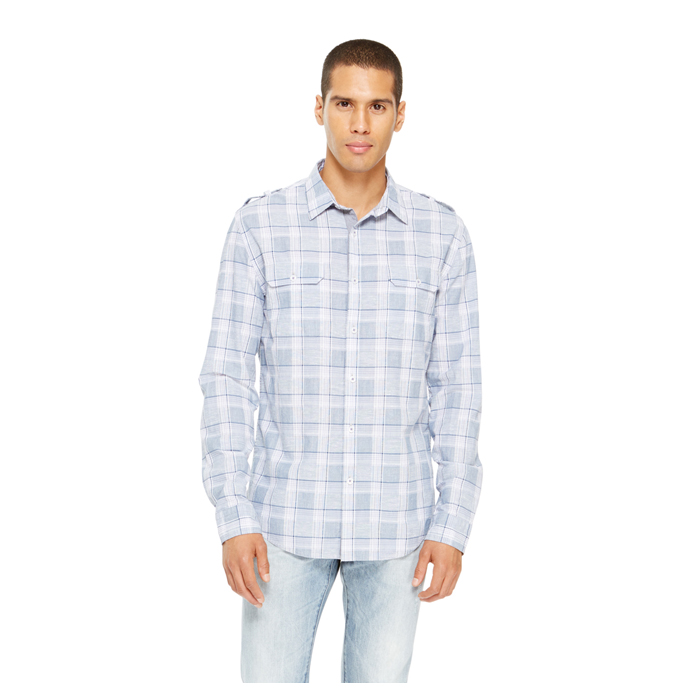 BLUE DKNY JEANS PLAID SHIRT Outlet Online