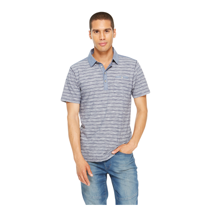 BLACK IRIS DKNY JEANS STRIPE CHAMBRAY POLO Outlet Online