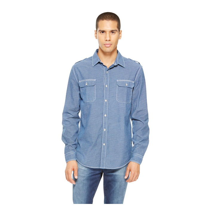 BLUE DKNY JEANS MINI PRINT SHIRT Outlet Online