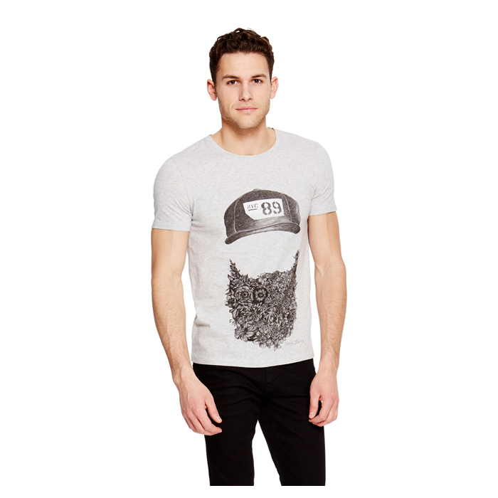 LIGHT HTR GREY DKNY -INTERNATIONAL- JEANS BEARD TEE Outlet Online
