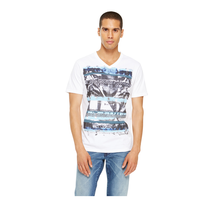 WHITE DKNY JEANS 'THE JUNGLE' V NECK Outlet Online