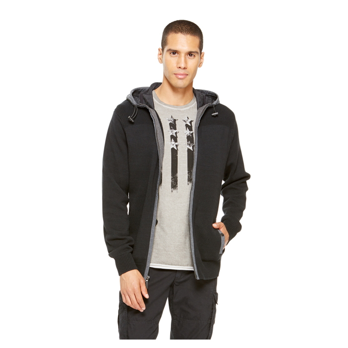 BLACK DKNY JEANS HOODED SPORT SWEATER Outlet Online