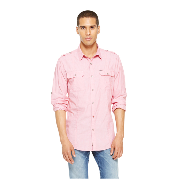 FLARED RED DKNY JEANS CASUAL WASH SHIRT Outlet Online