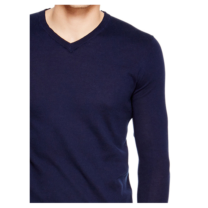 MIDNIGHT DKNY V-NECK COTTON SWEATER Outlet Online
