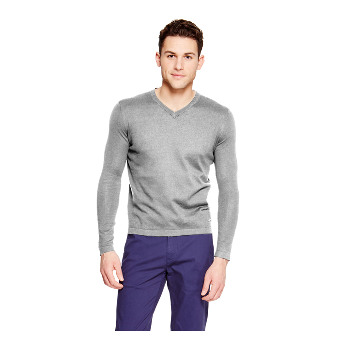 LIGHT GREY MELANGE DKNY V-NECK COTTON SWEATER Outlet Online