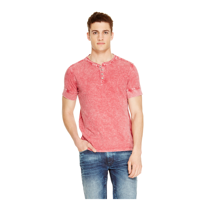 FADED RED DKNY JEANS SLUB HENLEY SHIRT Outlet Online