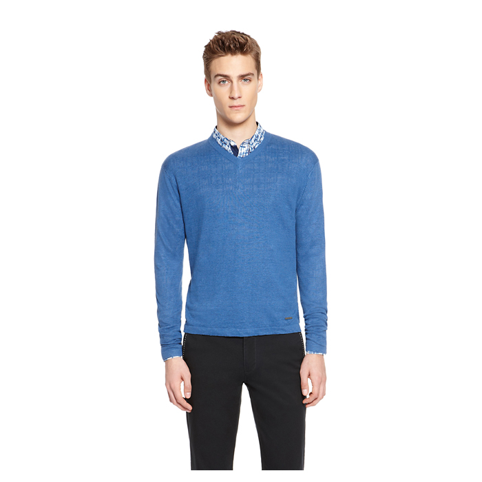 SAPPHIRE DKNY V-NECK LINEN SWEATER Outlet Online
