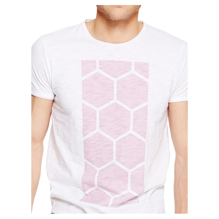 WHITE DKNY HONEYCOMB PRINT TEE Outlet Online