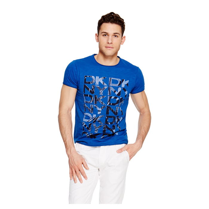 EARTH BLUE DKNY LOGO PRINT TEE Outlet Online