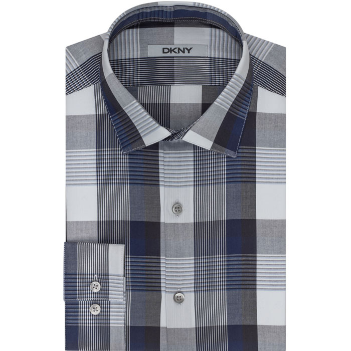 NIGHT BLUE DKNY PLAID DRESS SHIRT Outlet Online