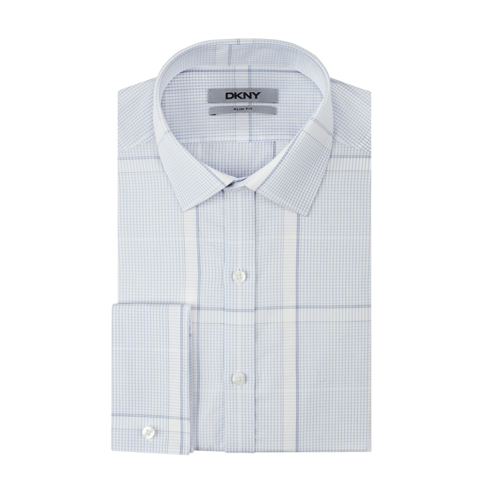 STEEL BLUE DKNY ENGINEERED PLAID DRESS SHIRT Outlet Online