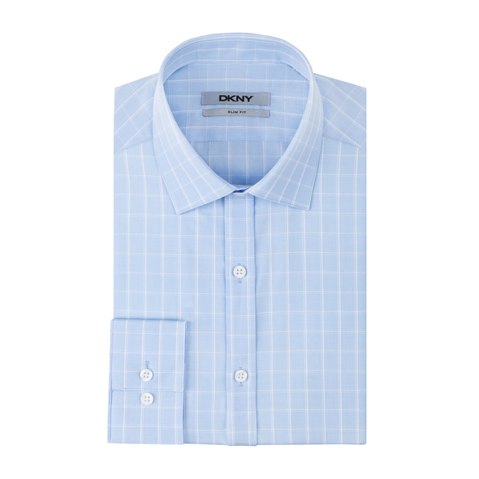 SKY BLUE DKNY ALTERNATING STRIPE DRESS SHIRT Outlet Online