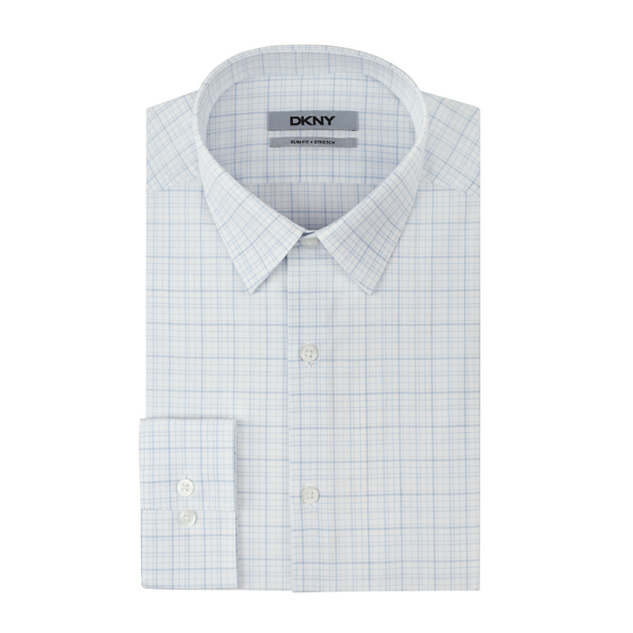 SOFT BLUE DKNY WHITE GRID PLAID DRESS SHIRT Outlet Online