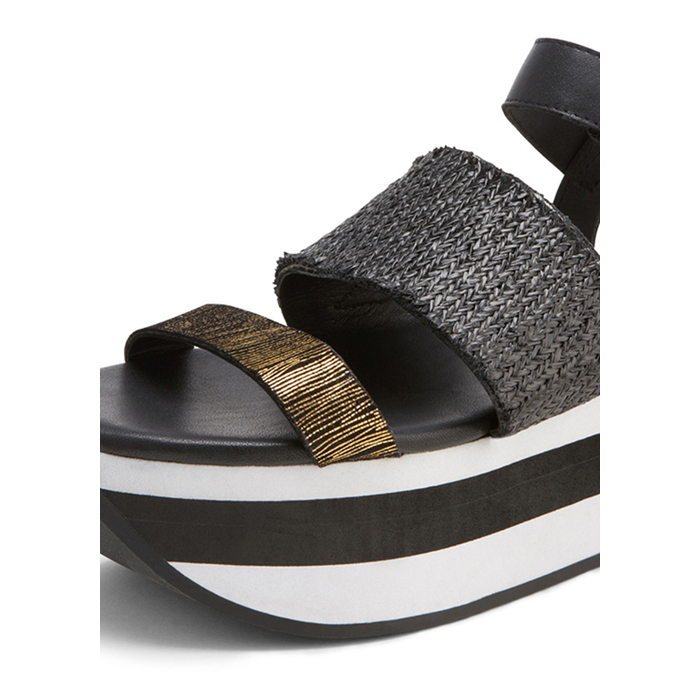 BLACK DKNY VERA LEATHER PLATFORM SANDAL Outlet Online