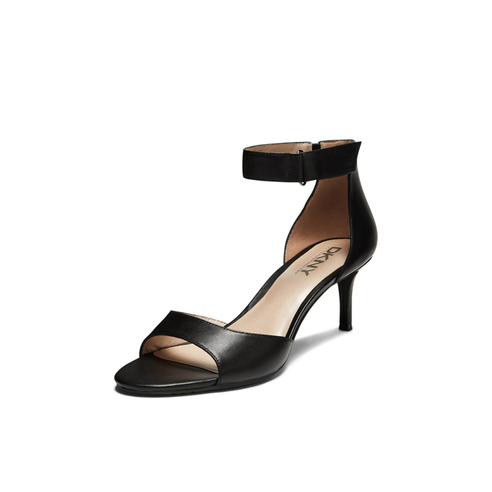 BLACK DKNY GIANNA KITTEN HEEL SANDAL Outlet Online