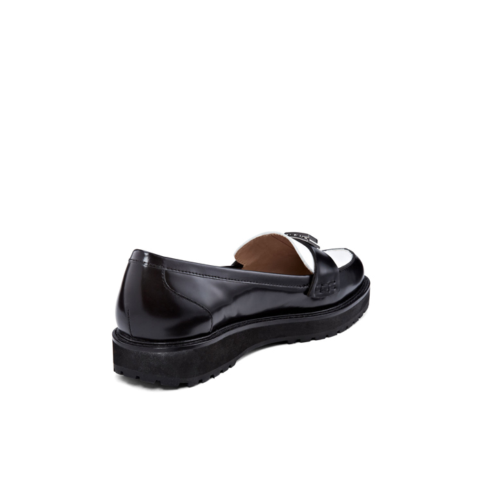 BLACK-WHITE DKNY LIAN CALF LEATHER MOC Outlet Online