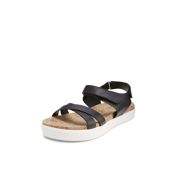 BLACK DKNY BRITTANY LEATHER SANDAL Outlet Online