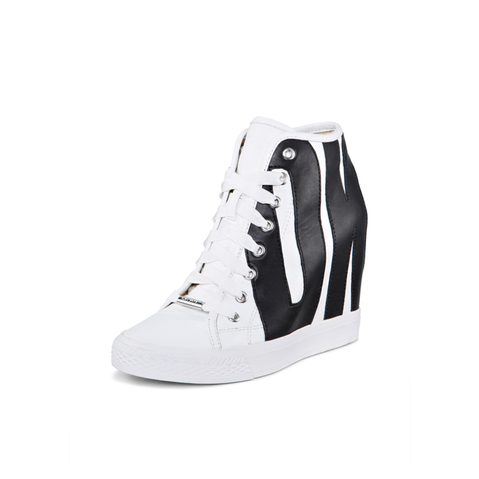 WHITE-BLACK DKNY GROMMET LEATHER SNEAKER Outlet Online