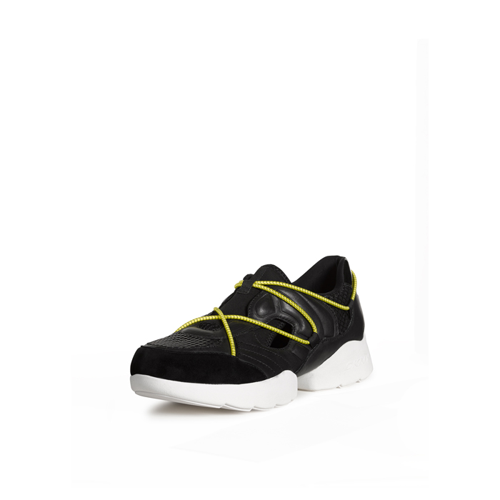 BLACK DKNY POPPY LEATHER DOUBLE RUNNER SNEAKER Outlet Online