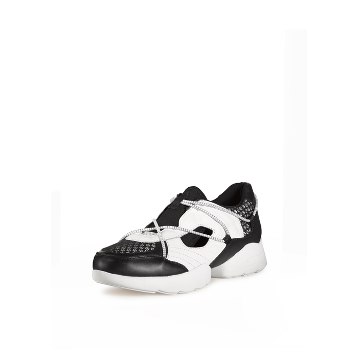 WHITE-BLACK DKNY POPPY DOUBLE RUNNER SNEAKER Outlet Online