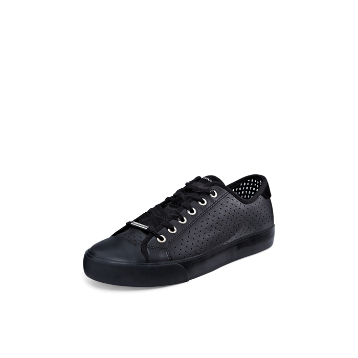 BLACK DKNY BARBARA PERFORATED LEATHER SNEAKER Outlet Online