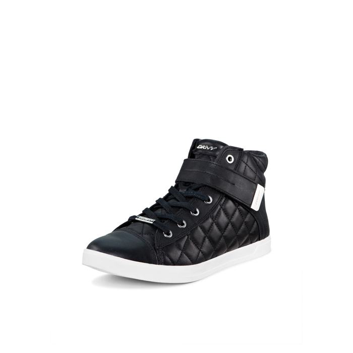 BLACK DKNY BETTY QUILTED LEATHER SNEAKER Outlet Online