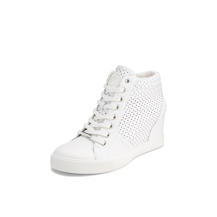 WHITE DKNY CINDY PERFORATED SNEAKER Outlet Online
