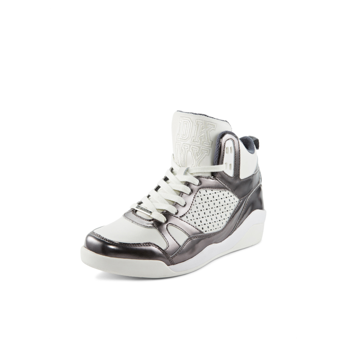 WHITE-GUNMTL DKNY CLEO HIGH TOP SNEAKER Outlet Online