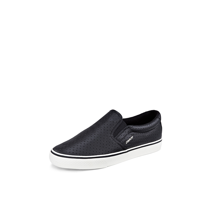 BLACK DKNY BETH PERFORATED LEATHER SNEAKER Outlet Online