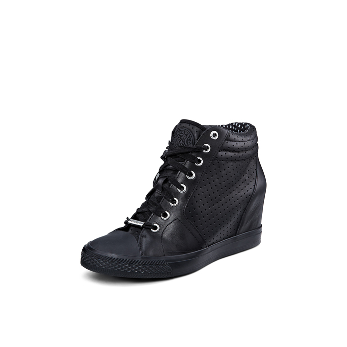 BLACK DKNY CINDY PERFORATED LEATHER SNEAKER Outlet Online