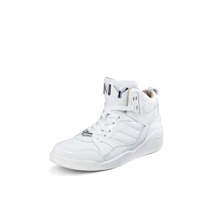 WHITE DKNY CLEO LUXE PATENT LEATHER SNEAKER Outlet Online