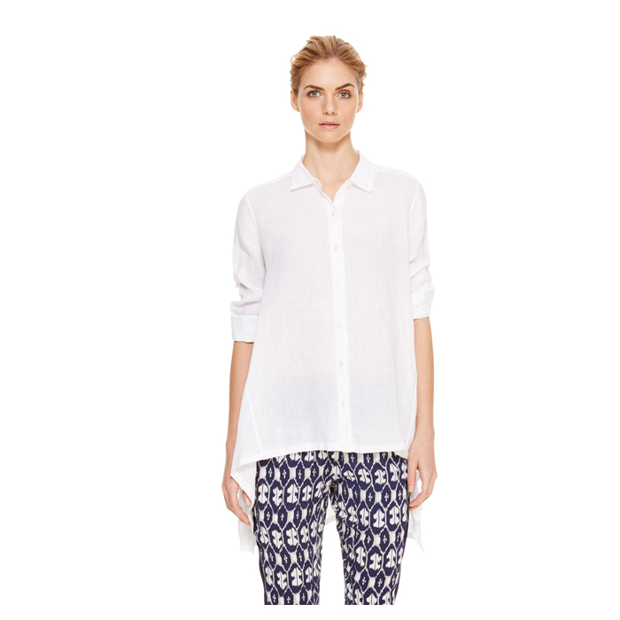 WHITE DKNY DKNYPURE LINEN EXTENDED BACK SHIRT Outlet Online