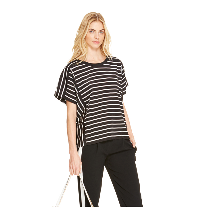BLACK DKNY OVERSIZED STRIPE TOP Outlet Online