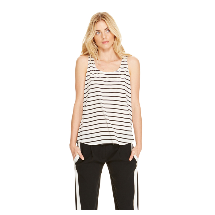OFF WHITE DKNY STRIPED SCOOPNECK TANK Outlet Online
