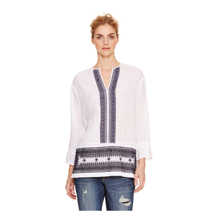 WHITE DKNY DKNYPURE EMBROIDERED LINEN TUNIC Outlet Online