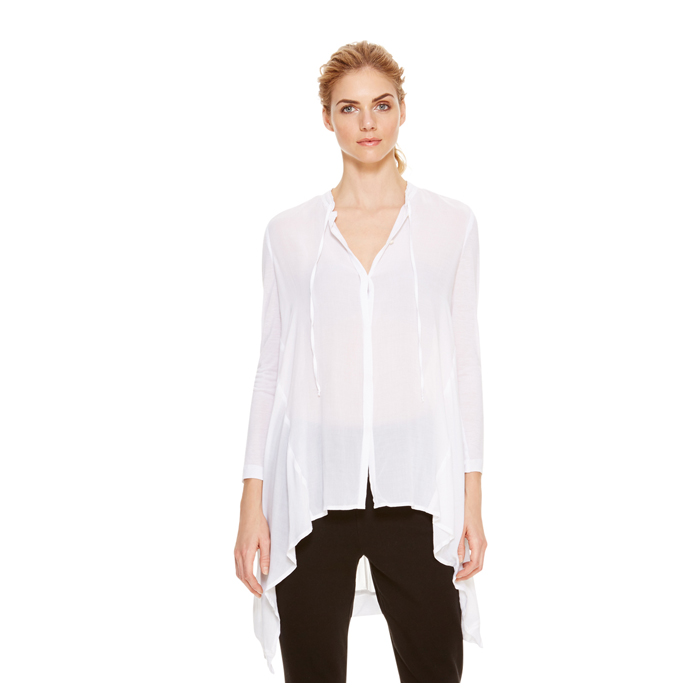 WHITE DKNY DKNYPURE BAND COLLAR SHIRT Outlet Online