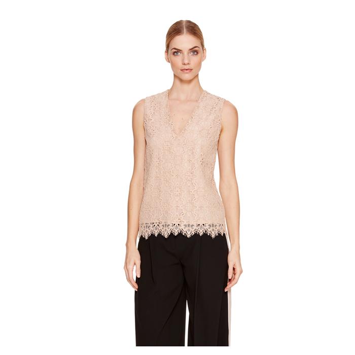 PALE POWDER DKNY SLEEVELESS V-NECK TOP Outlet Online