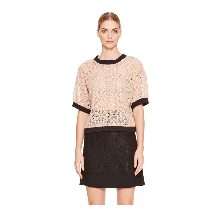 PALE POWDER DKNY LACE SHORT SLEEVE SHIRT Outlet Online