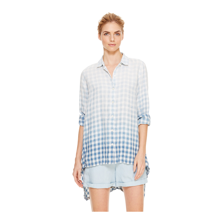 INDIGO DKNY DKNYPURE CHECK BUTTON THRU SHIRT Outlet Online