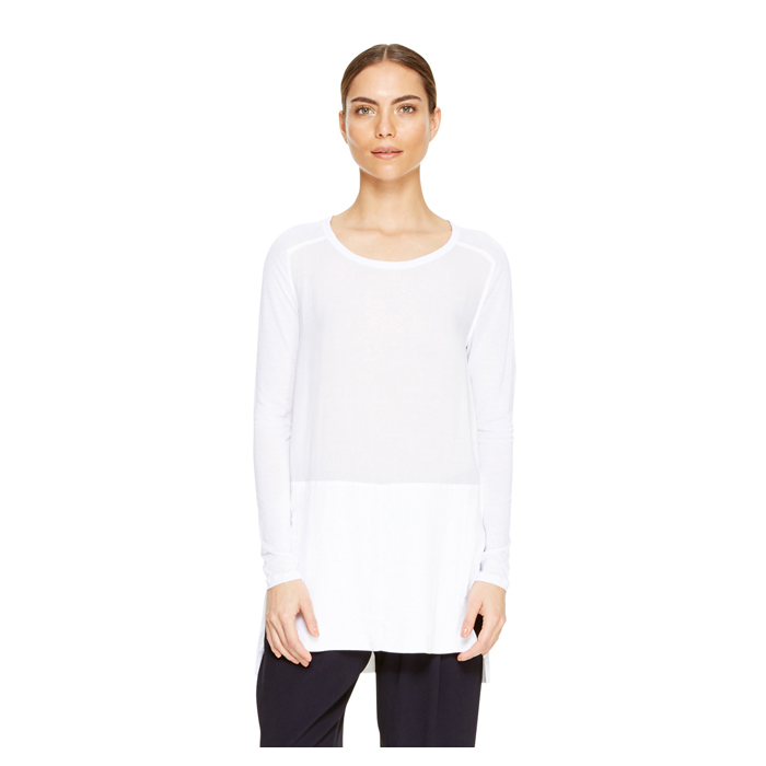 WHITE DKNY DKNYPURE JERSEY SLEEVE TUNIC Outlet Online