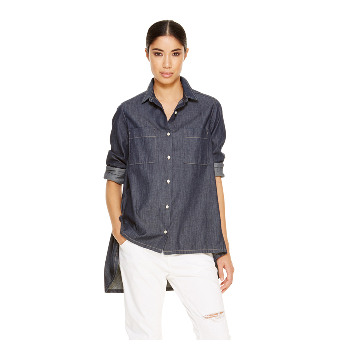 RINSE WASH DKNY DKNYPURE DENIM TRAPEZE SHIRT Outlet Online