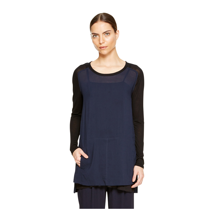 MIDNIGHT DKNY DKNYPURE JERSEY SLEEVE TUNIC Outlet Online